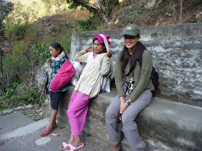 Photo: Emily having a rest before the long and steep uphills to Ulleri