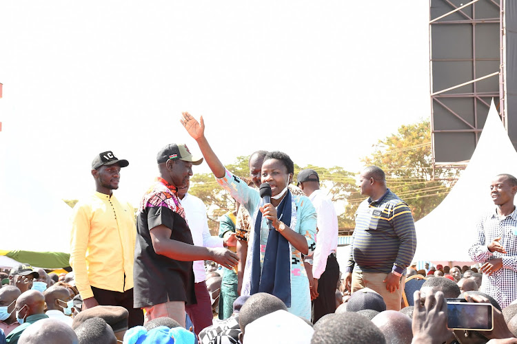 UDA Busia county coordinator Susan Mangeni on March 12, 2021 when DP William Ruto visited the region