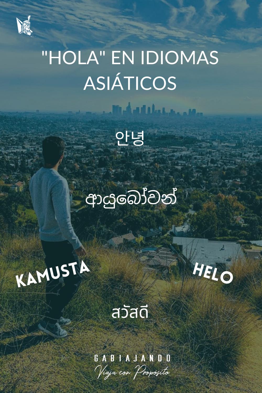 Hola en idioma asiático