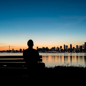 Big city dreams. by Dale Slater - City,  Street & Park  Skylines ( seattle, sunrise, cityscape, waterfront, early morning )