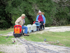 Photo: Derailment stopped Bob Barnett as he looks back to see where the derailment occured.     Gil & Virginia Freitag.     HALS Chili Fest Meet 2014-0301 RPW