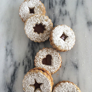 Pistachio Linzer Cookies with Nutella Filling
