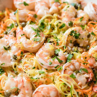 Lemon Garlic Shrimp and Spiralizer Veggie Pasta.