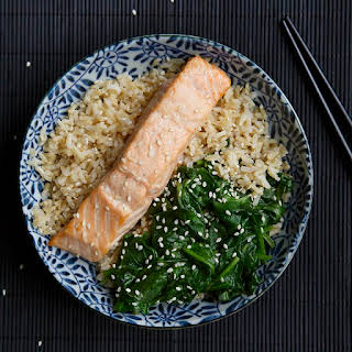 Poached Salmon with Wilted Spinach.