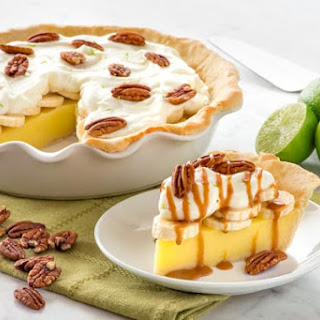 Banana Lime Curd Pie with Caramel Sauce