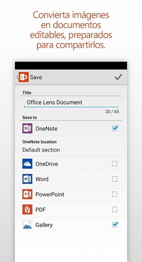 Office Lens: captura de pantalla