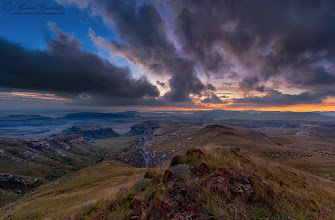 """Photo: """"Dawn over Endless Lands"""" Maluti Mountains, Greater Drakensberg Mountain Range Golden Gate Highlands National Park, Free State Province, South Africa  Great was the expression of joy on my face when I waded through some images from a roadtrip last year and stumbled across this one! It was a morning I tried to forget for a while as we were on holiday and had to rush to the nearest hospital to get our 4-month-old daughter investigated for an unknown illness. Everything turned out okay in the end, but we had to cut our trip short by a few nights and actually spent that night in a strange town by a hospital bed while all kinds of tests were being done.  This is a pre-sunrise image, so I tried to maintain a darker look on the landscape while showing the immense detail of this beautiful vista. This is a blend of 2 exposures using a manual blending process in Photoshop based on gradient masks. +Jay Patel - would really like your honest feedback on this one sir...lay it on me!  Remember that tomorrow is African Tuesday again! The theme for tomorrow is Poignant People Portraits and you can submit any portrait-style photos of the people of Africa to the theme by hashtagging """" #AfricanTuesday PPP"""" and adding myself, +Johan Swanepoel and the page +African Tuesday to the post.  Anyhow, this is a submission for: 1. #mountainmonday (+Mountain Monday) curated by +Michael Russell (it's been a while since I added an image to this wonderful theme) 2. #landscapephotography (+Landscape Photography) curated by +Margaret Tompkins 3. #moodymonday (+Moody Monday) curated by +Carole Buckwalter and +Philip Daly 4. #naturemonday (+NatureMonday) curated by +Rolf Hicker and +Kate Church 5. #leadinglinesmonday (+Leading Lines Monday) curated by +CJ Sros, +Pam Chalkley and +Jakob Nilsson 6. #breakfastclub (+Breakfast Club) curated by +Gemma Costa and +Andrea Martinez 7. #plusphotoextract curated by +Jarek Klimek 8. #hqsppromotion (+HQSPPromotion) curated by +Rinus Bakker, +Carina Marsh, +Ma"""