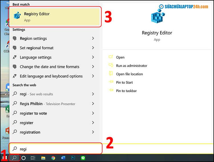 Tìm và chọn Registry Editor