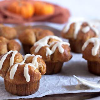 Pumpkin Monkey Bread Muffins with Cream Cheese.