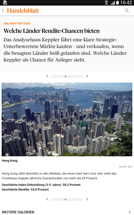 Handelsblatt Online- screenshot