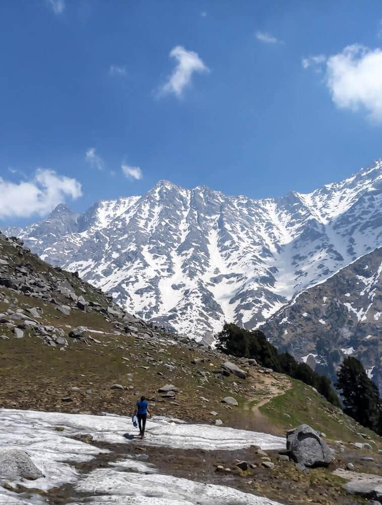walking on snow in dharamshala