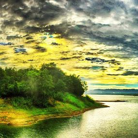 Panoramic View of Kaptai lake by Arafat Chowdhury - Landscapes Sunsets & Sunrises ( panoramic view of the kaptai lake at dawn sunrise beautiful islands boats water sun clouds green trees )