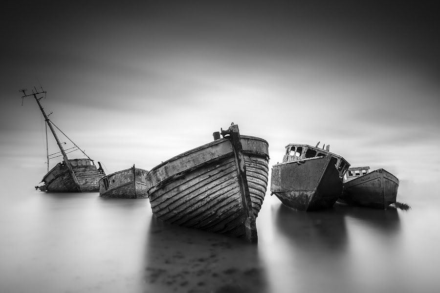 the ghost fleet by Emanuel Ribeiro - Black & White Objects & Still Life ( water, monochrome, boats, mood )