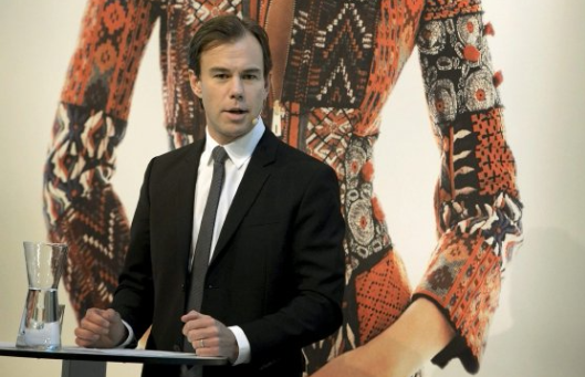 Karl-Johan Persson speaks during a news conference in Stockholm. Picture: REUTERS