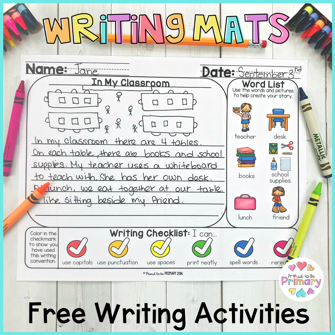 free writing mats activities for kids