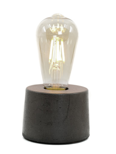 lampe béton coloris anthracite forme cylindre