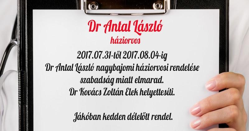 Dr Antal László nagybajomi háziorvos helyettesítése szabadság miatt 2017