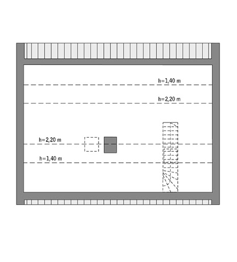 Przejrzysty - C365 - Rzut poddasza do indywidualnej adaptacji (40,0 m2 powierzchni użytkowej)