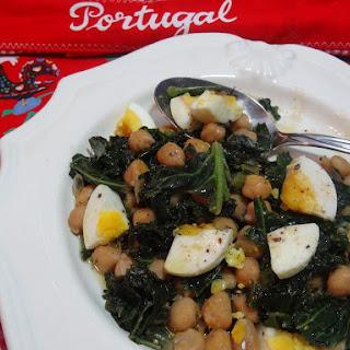 Kale with Chick Peas and Egg – Couves com Grao e Ovo.