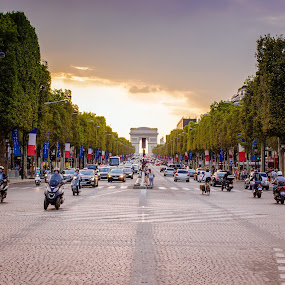 Champs Elysees in Paris by Mo Kazemi - City,  Street & Park  Street Scenes ( champs elysees, paris, champselysees, streets, golden hour, street, paris france, sunset, france, magic hour, europe, street photography )