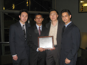 Photo: One senior design project completed by 4 mechanical engineering students at Drexel Univeristy has received award in the 2007 international competition sponsored by the James F. Lincoln Foundation. The team designed and built an autonomous bacterial transportation systems in various microfluidic environments for microassembly. From left, Socheth Bith, Jigar Patel, Prof. MinJun Kim, and Chandan Naik (Nov. 2007).