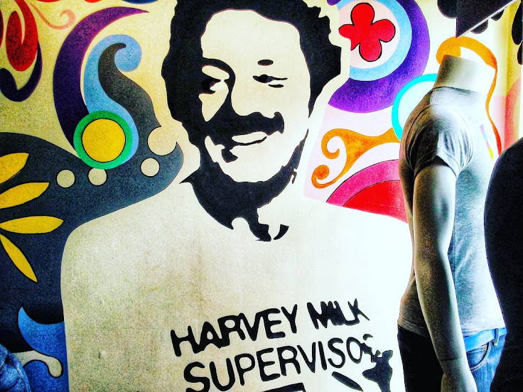 Painting of Harvey Milk on the wall of the Human Rights Campaign Store.