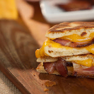Mini Naan Grilled Cheese with Bacon.