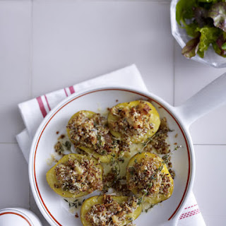 Baked Potatoes with Mustard Parmesan Crust