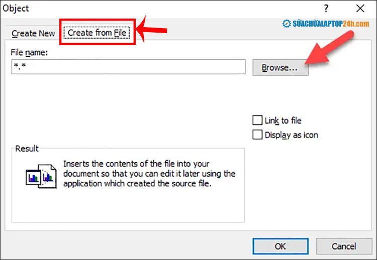Click tab Create File và chọn Browse