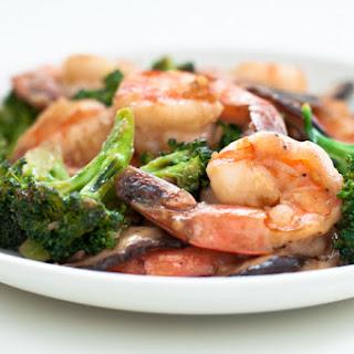 Shrimp, Broccoli, and Shitake Mushroom Stir-Fry.
