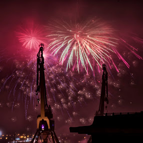 Happy New Year by Mats Andersson - Public Holidays New Year's Eve ( harbo, midnight, harbor crane, port, göteborg, fireworks, new year )