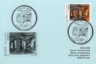 """Photo: Matasellos """"Primer día"""" para el sello de las Termas romanas de Campo Valdés en Gijon, fechada en marzo de 2007"""