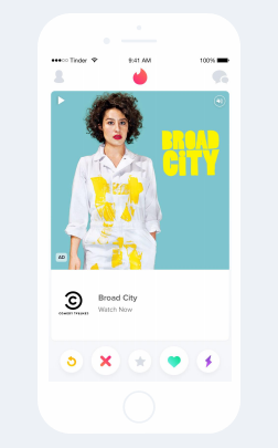 Tinder Advertisng: Video and text card ad