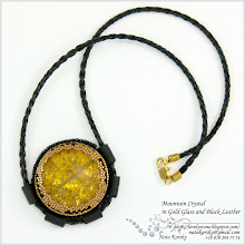 Photo: Mountain Crystal in Gold Glass and Black Leather - Гірський кришталь в золоті і шкірі
