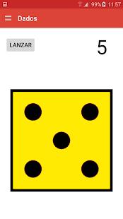 Imagen de un dado amarillo con puntos negros de gran tamaño ocupando la mayor parte de la pantalla del terminal mócil