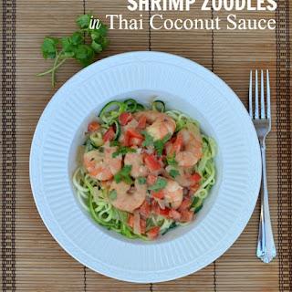 Shrimp Zoodles In Thai Coconut Sauce.