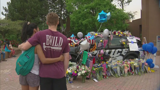Fallen Officer: Community Members Gather At Memorial Outside Arvada Police Department To Mourn Death Of Officer Gordon Beesley