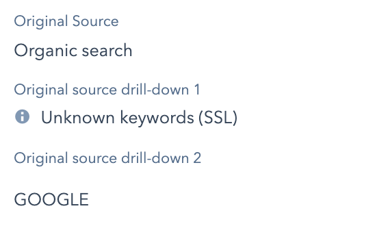 Organic search source & drill-downs