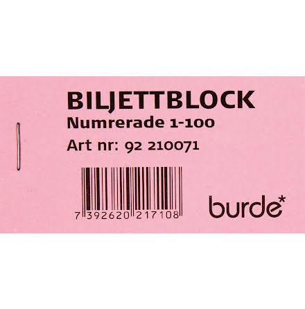 Biljettblock 1-100 rosa