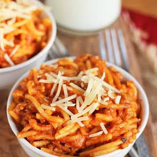 Crock Pot Italian Sausage Spaghetti.
