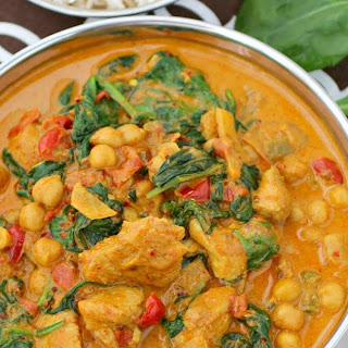 Chickpea and Chicken Curry with Spinach.