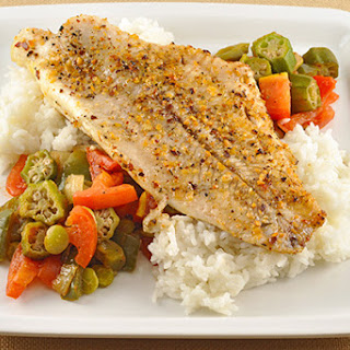 Oven-Roasted Catfish with Creole Vegetables.