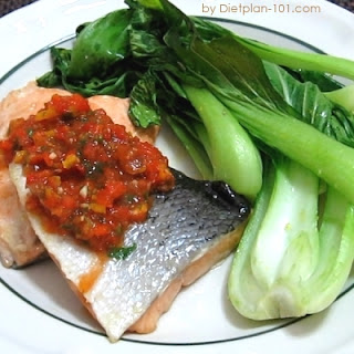 Baked Salmon with Bok Choy and Roasted Pepper Salsa (for Atkins Diet Phase 1)