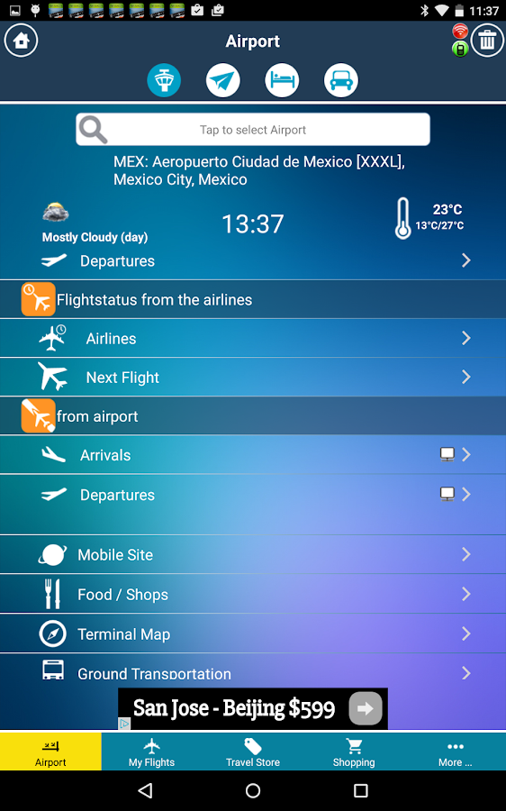 Mexico City Airport MEX Radar Flight Tracker- screenshot