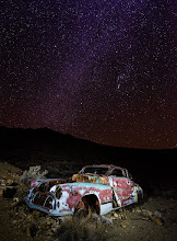 Photo: Bonnie and Clyde's car?  Could be... right?  The first night in Death Valley we ventured out to a spot for some light painting. After a time at some abandoned buildings we crossed over the hill to find this car that +Ricardo Lagosknew about. I was instantly intrigued. There's a story here and I would love to know it. But for now I'll fantasize about some gangsters hiding out in the hills before they got caught in a deadly shoot out around their car.  #dvonewaytrip13