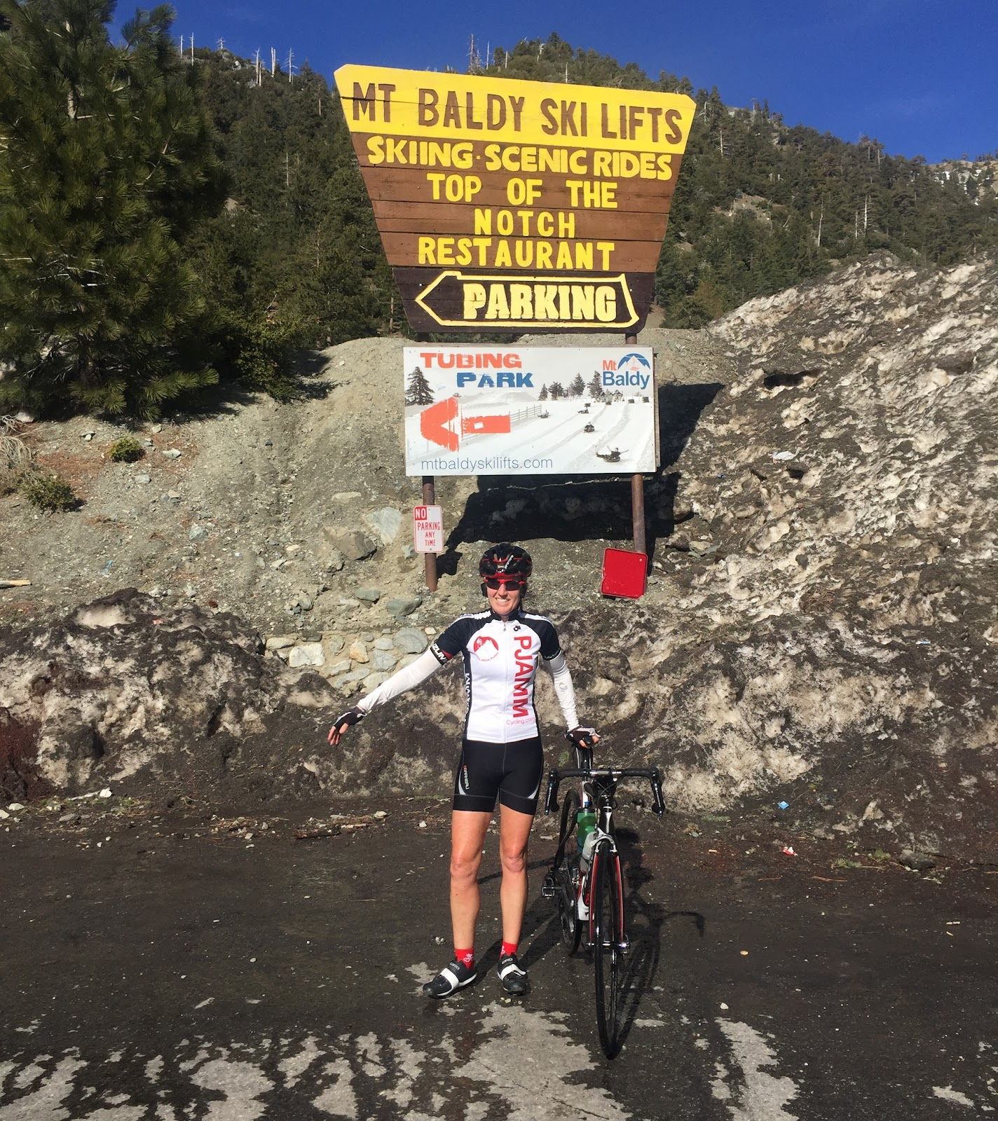 Cyclists at the finish of Mt Baldy and Glendora Mountain Climb - AMGEN California finish.