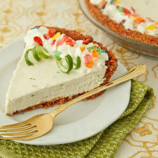 Lime Cheesecake with Fruity Pebbles Crust.