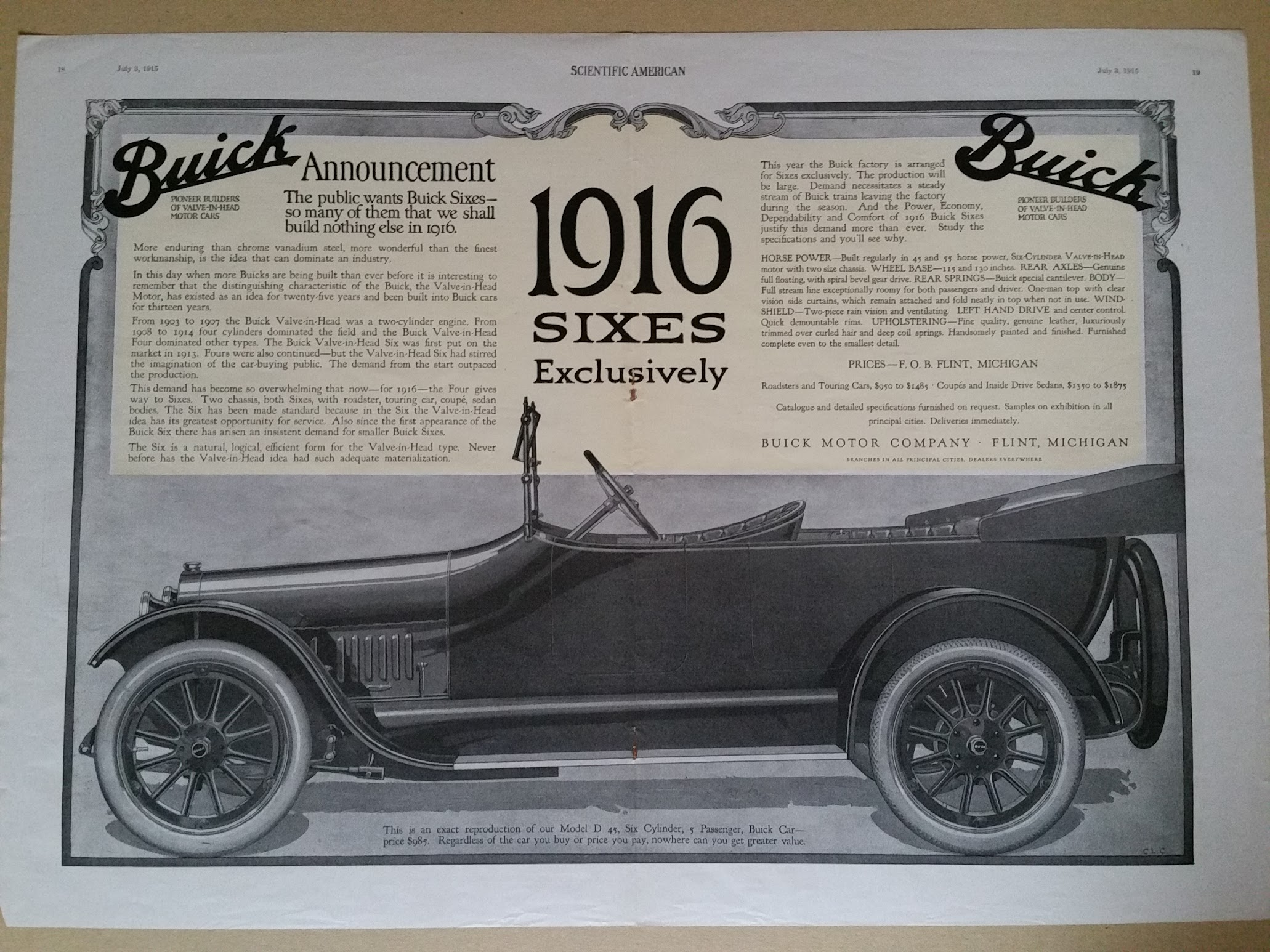 Buick 1916 SIXES Exclusively