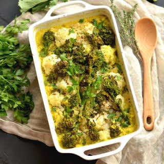 Turmeric Cauliflower Broccoli Gratin {GF, Low Cal}.