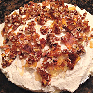 National Banana Creme Pie Day | Banana Creme Pie with Honey Whipped Cream and Pecan Brittle for #SundaySupper.